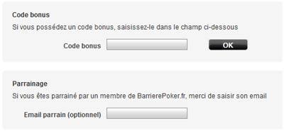 code bonus et parrainage barrière