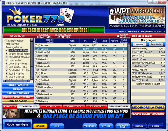 Lobby des parties du site poker770